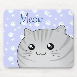 Gato gris lindo del gatito del tabby de Kawaii Alfombrilla De Ratón