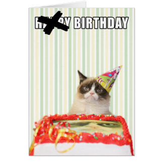 Gato gruñón - tarjeta del feliz cumpleaños