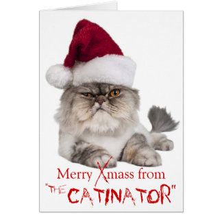 """Gato irritable divertido tarjeta de Navidad """"del"""