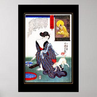 Gato japonés de la mujer del arte del vintage del