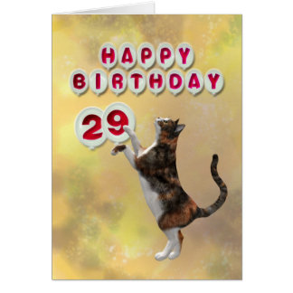 Gato juguetón y 29nos globos del feliz cumpleaños tarjeta de felicitación