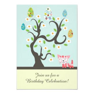 Gato lindo con la invitación del cumpleaños del invitación 12,7 x 17,8 cm