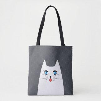 Gato lindo con la lengua que se pega hacia fuera bolsa de tela