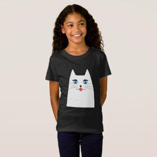 Gato lindo con la lengua que se pega hacia fuera camiseta