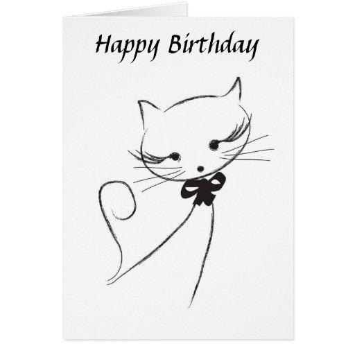 Gato lindo con la tarjeta del feliz cumpleaños del