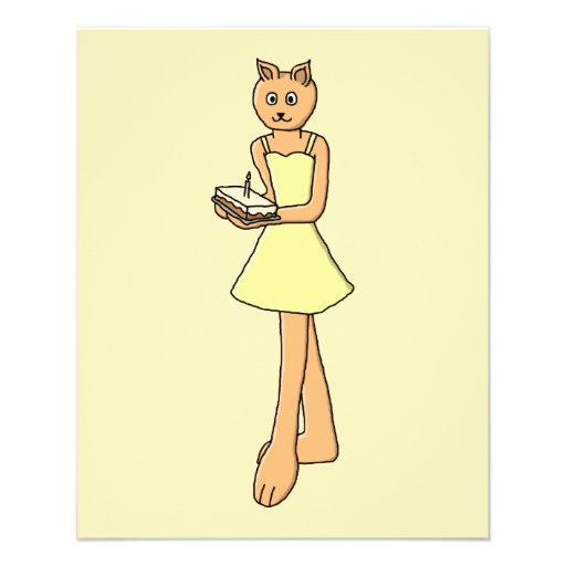 Gato lindo con la torta de cumpleaños tarjetas publicitarias