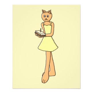 Gato lindo con la torta de cumpleaños folleto 11,4 x 14,2 cm