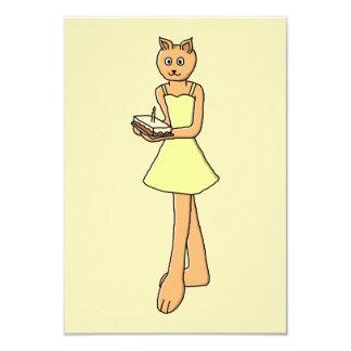 Gato lindo con la torta de cumpleaños invitación 8,9 x 12,7 cm