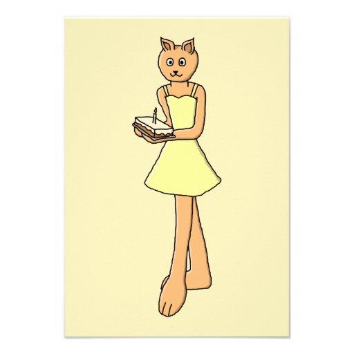 Gato lindo con la torta de cumpleaños anuncio personalizado