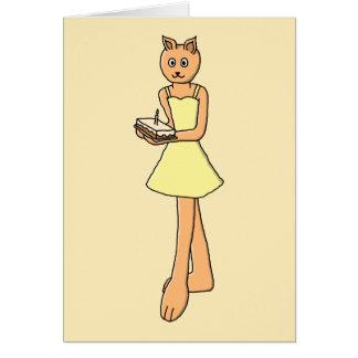 Gato lindo con la torta de cumpleaños tarjeta