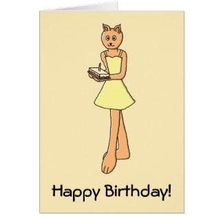 Gato lindo con la torta de cumpleaños felicitacion
