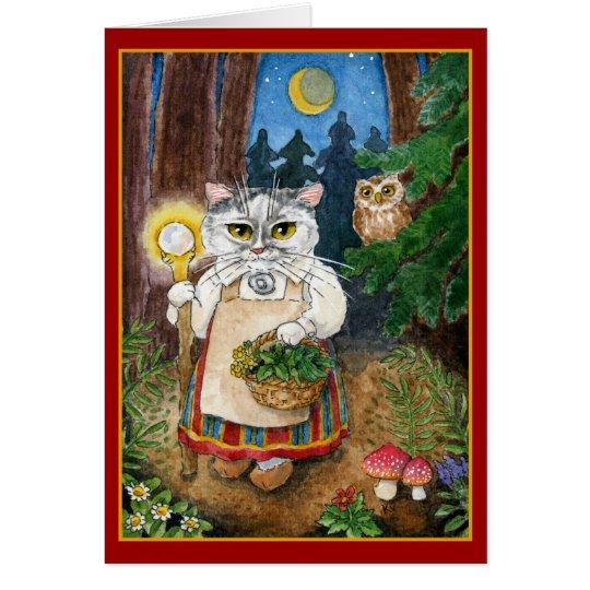 Gato lindo de la bruja en tarjeta de felicitación