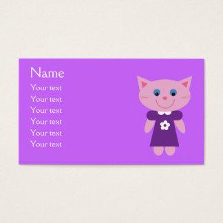 Gato lindo del dibujo animado en lila púrpura del tarjeta de negocios