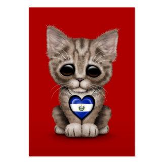 Gato lindo del gatito con el corazón de El Salvado Tarjetas De Visita Grandes