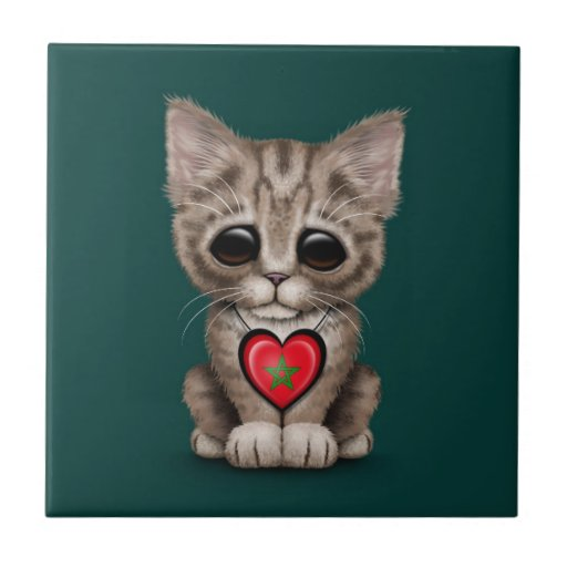 Gato lindo del gatito con el corazón de la bandera azulejos cerámicos