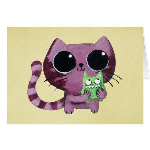 Gato lindo del gatito con el pequeño monstruo verd felicitación