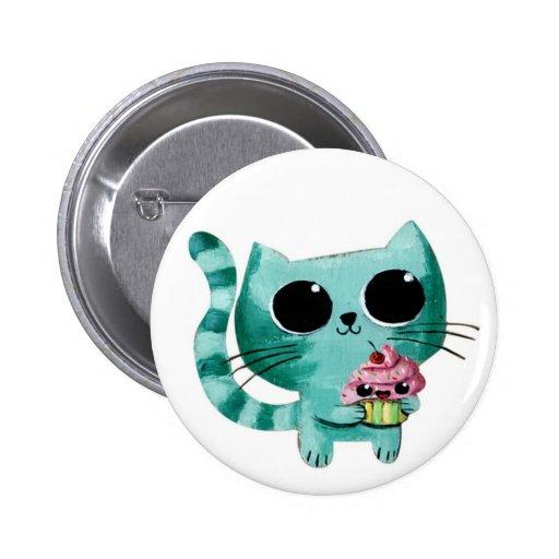 Gato lindo del gatito con la magdalena de Kawaii Pin