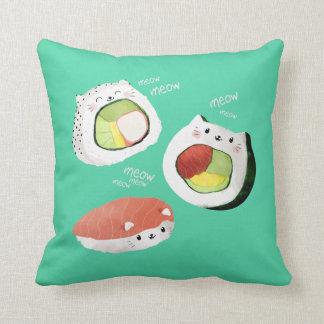 Gato lindo del sushi almohadas