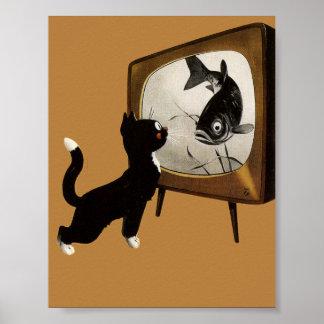 Gato lindo que mira el poster del vintage de la TV