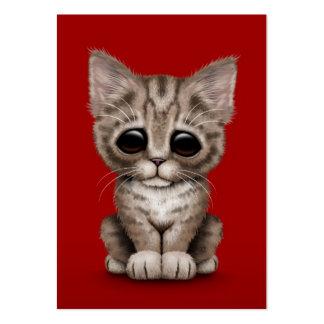 Gato lindo triste del gatito del Tabby de Brown en Tarjetas De Visita Grandes