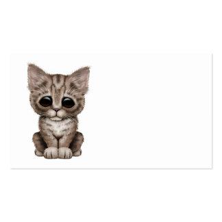 Gato lindo triste del gatito del Tabby de Brown Plantillas De Tarjeta De Negocio
