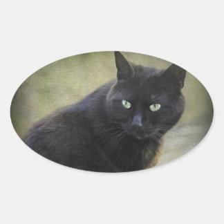 Gato masculino negro con los ojos verdes calcomania ovalada