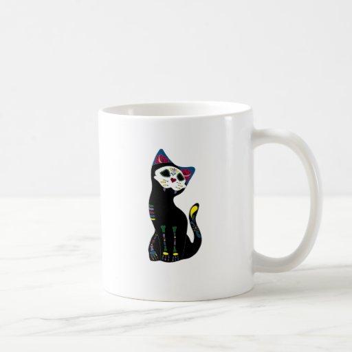 """""""Gato Muerto"""" Dia De Los Muertos Cat Tazas De Café"""