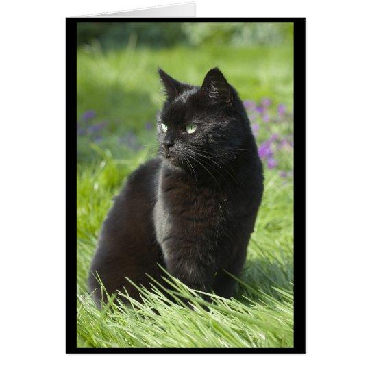 Gato negro afortunado tarjeta de felicitación