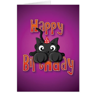 gato negro - ataque repentino - feliz cumpleaños tarjeta de felicitación
