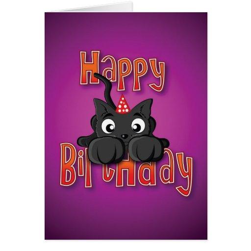 gato negro - ataque repentino - feliz cumpleaños tarjeton
