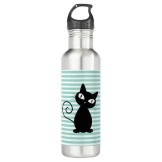 Gato negro caprichoso lindo en rayas botella de agua