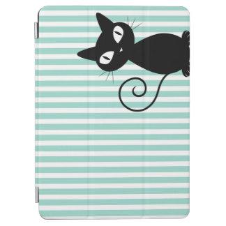 Gato negro caprichoso lindo en rayas cubierta de iPad air