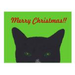 """Gato negro con el verde, """"Felices Navidad rojas """" Postales"""