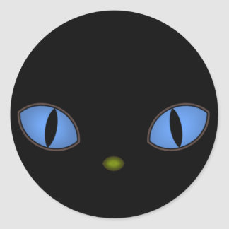 Gato negro con los ojos azules grandes pegatina redonda