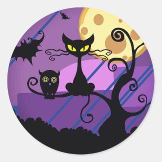 Gato negro de Halloween/búho lindo y pegatina