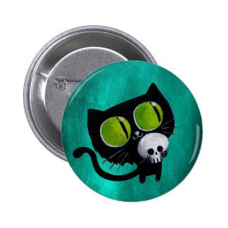 Gato negro de Halloween con el cráneo Chapa Redonda De 5 Cm