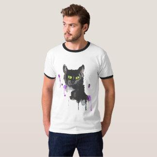 Gato negro de la acuarela - camiseta básica del