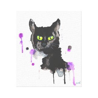 Gato negro de la acuarela - impresión de la lona