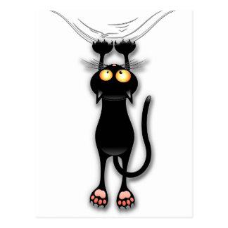 Gato negro de la diversión que cae abajo postal