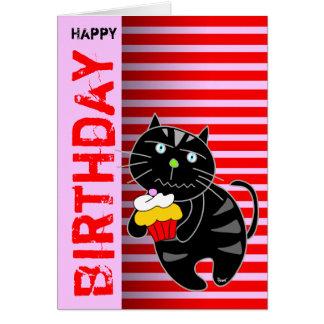 Gato negro de la magdalena de la tarjeta de cumple