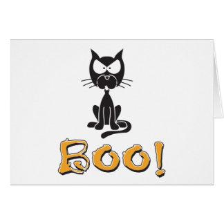 Gato negro del abucheo del feliz Halloween Tarjeta De Felicitación