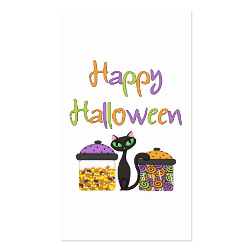 Gato negro del caramelo de Halloween Tarjetas Personales