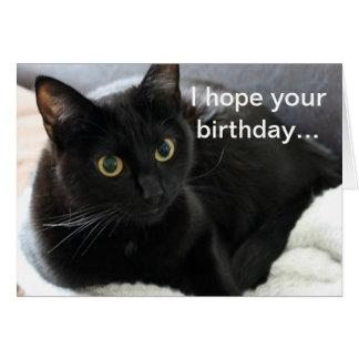 Gato negro del cumpleaños tarjeta de felicitación
