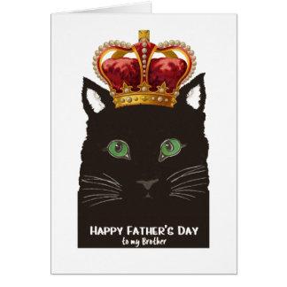 Gato negro del día de padre con la corona para tarjeta de felicitación
