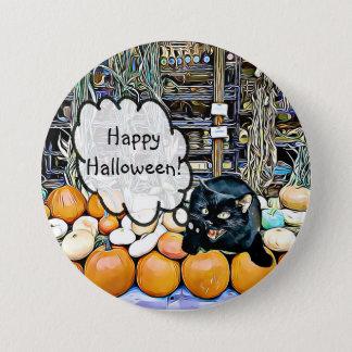 Gato negro del feliz Halloween en el botón de las
