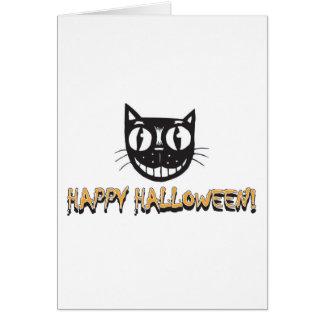Gato negro del feliz Halloween Tarjeta De Felicitación