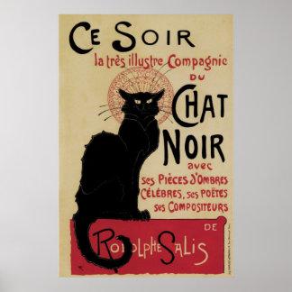 Gato negro del nouveau del arte del vintage