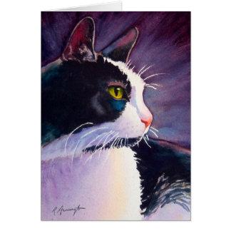 Gato negro del smoking en humor tempestuoso tarjeta de felicitación