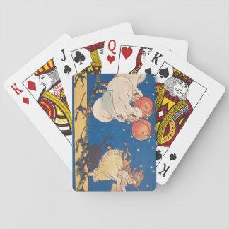 Gato negro del traje del fantasma de la broma de baraja de cartas