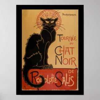 Gato negro del vintage de Art Nouveau Le Chat Noir Póster